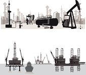 Vector illustration.Silhouettes of an oil refinery and oil wells.