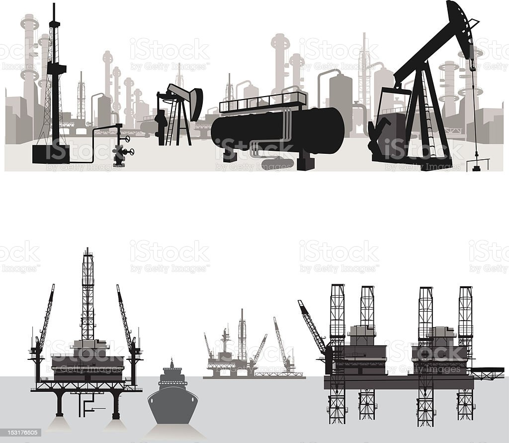 Vector illustration.Silhouettes of an oil refinery vector art illustration
