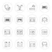 Vector illustration.Thin line icons of hand papermaking process. Related for logo, instruction, handmade paper workshop. Including mould and deckle, pulp, slurry, pressing, drying. Linear symbols set