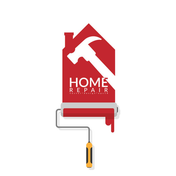 vector illustrator design of paint roller painting red color on white wall in shape of house logo with white shadow of hammer with text home repair. home renovation service and painting concept vector illustrator design of paint roller painting red color on white wall in shape of house logo with white shadow of hammer with text home repair. home renovation service and painting concept renovation stock illustrations