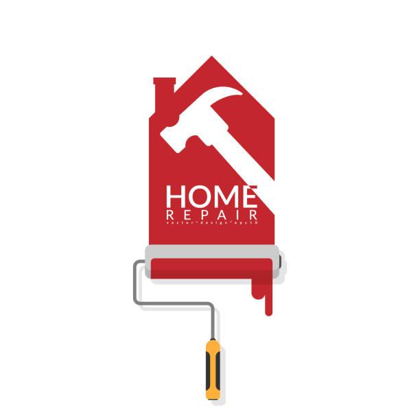 stockillustraties, clipart, cartoons en iconen met vector illustrator ontwerp van verfroller schilderij rood op witte muur in de vorm van huis logo met witte schaduw van hamer met tekst home reparatie. home renovatie service en schilderij concept - renovatie begrippen