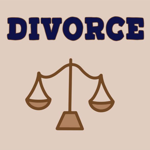 Vector illustrstion of divorced couple A divorced couple with man and woman silhouettes separated and divided. Family problem  of husband and wife, break up and alimony issue. Vector lettering illustration eps10. alimony stock illustrations