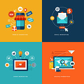 Icons for mobile marketing, email marketing, video marketing and digital marketing