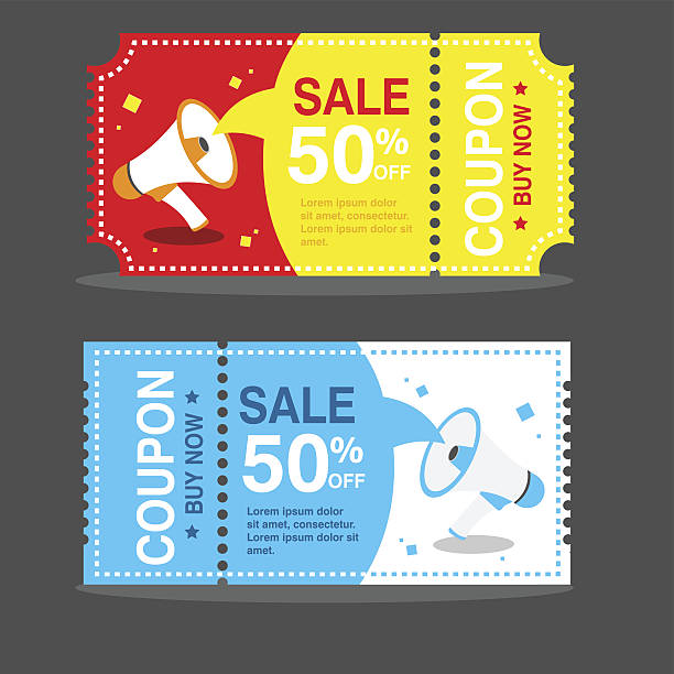 vector image coupon discount template - coupon stock illustrations, clip art, cartoons, & icons