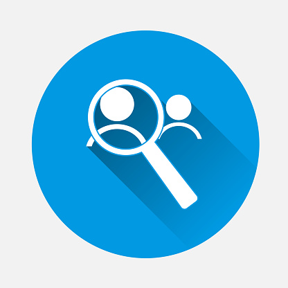 Vector image icon of man and magnifier. Magnifying glas on blue background. Flat image magnifier with long shadow. Layers grouped for easy editing illustration. For your design.