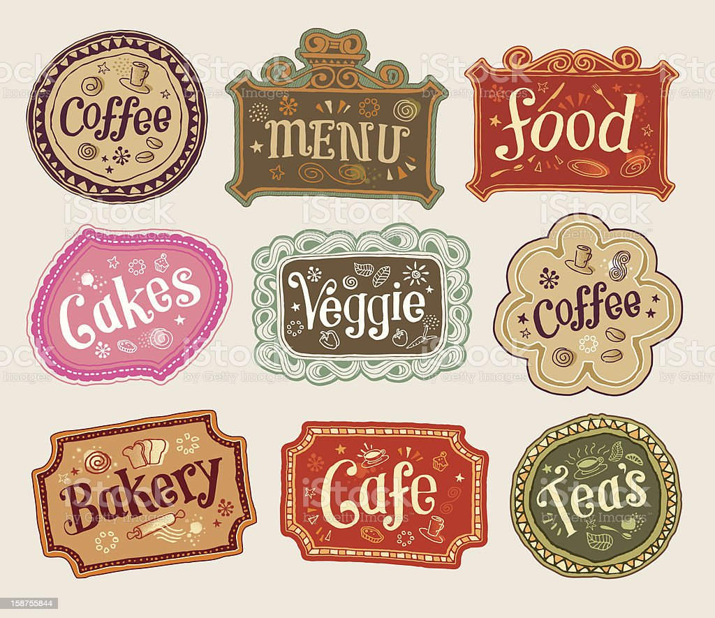 Vector image labels of food items royalty-free vector image labels of food items stock vector art & more images of bakery