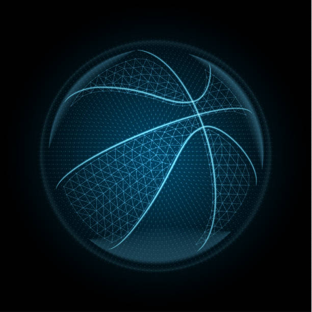 Vector image of a basketballl ball made of glowing lines, points and polygons vector art illustration