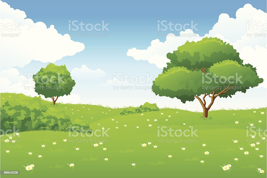 A vector image of a beautiful, open green landscape royalty-free a vector image of a beautiful open green landscape stock vector art & more images of blue