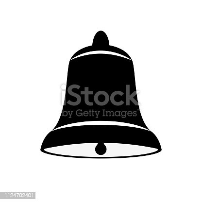 Vector image of a bell of black and white on an isolated white background. Flat icon bell