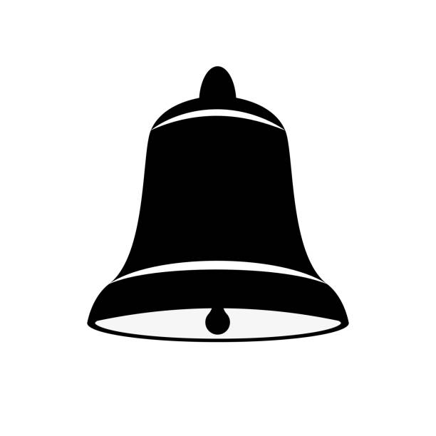 Vector image of a bell of black and white on an isolated white background. Flat icon bell Vector image of a bell of black and white on an isolated white background. Flat icon bell bell stock illustrations