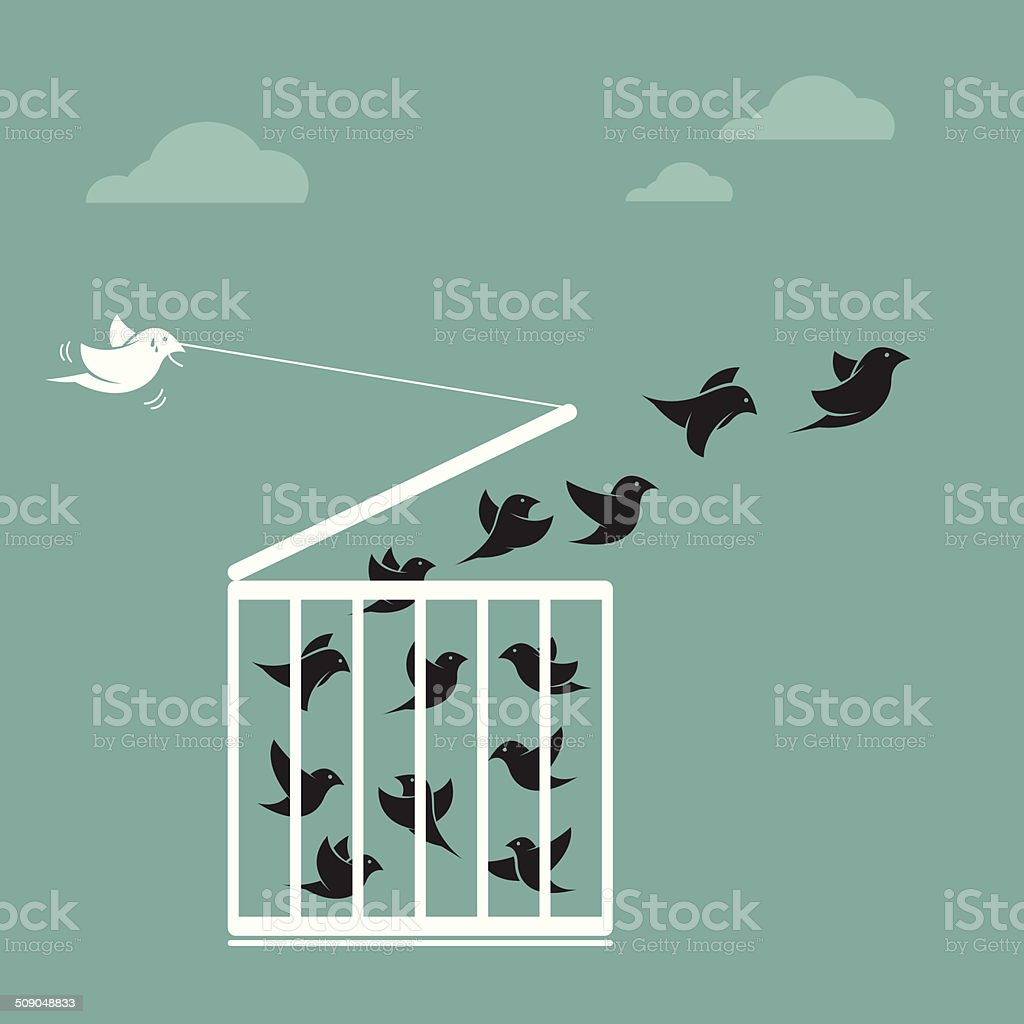 Vector image of a bird in the cage and outside the cage. vector art illustration