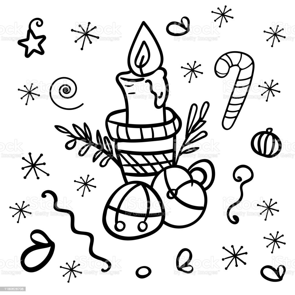 Vector Image Of A Candle In A Candlestick With Christmas Bells Coloring Page Or Book Antistress Hobby Decoration For A Cozy Home Vector Vector Illustration Stock Illustration Download Image Now Istock