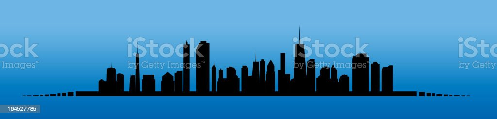 Vector image of a city skyline silhouette on blue background vector art illustration