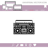 Vector image of a classic boombox.