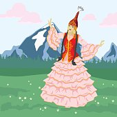 istock Vector image of a dancing girl in a Kazakh national costume on the background of mountains 1306820070