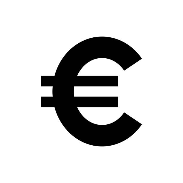 Vector image of a flat, isolated icon of the euro. Exchange of euros. Sign of the monetary union of the European Union Vector image of a flat, isolated icon of the euro. Exchange of euros. Sign of the monetary union of the European Union euro symbol stock illustrations