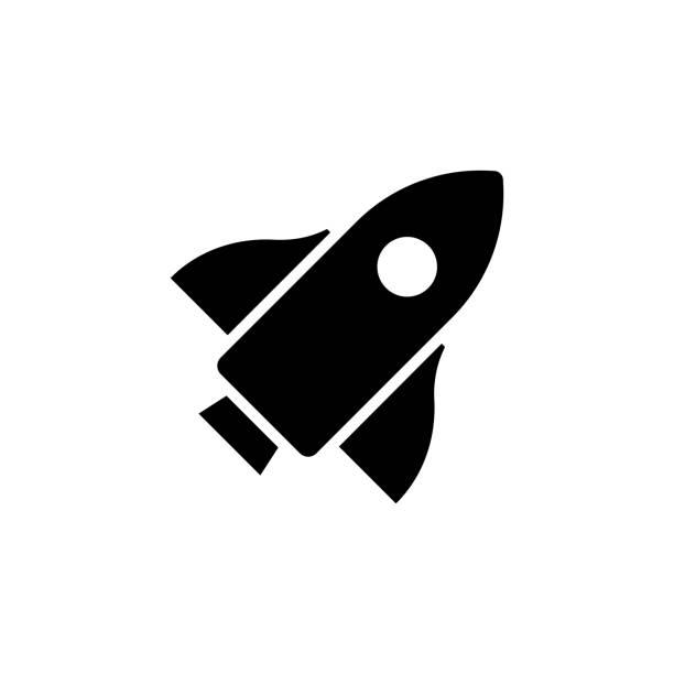 vektorbild eines flachen, isolierten icon-startzeichens - rakete stock-grafiken, -clipart, -cartoons und -symbole