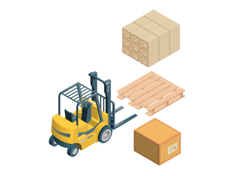 3D vector image of a forklift, skid and crates on white