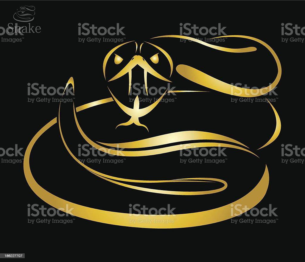 Vector image of a golden snake vector art illustration