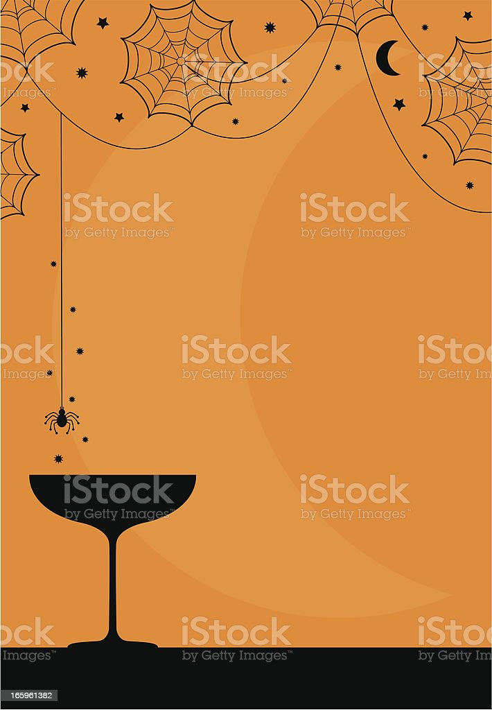 Vector image of a Halloween cocktail party and spiderwebs royalty-free stock vector art