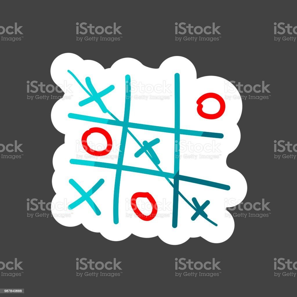 Vektorbild Eines Handgezeichneten Spiel Der Kreuze Und Tic