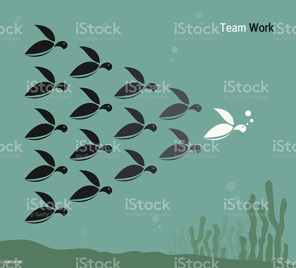 vector image of a herd of turtles swimming in the sea stock vector