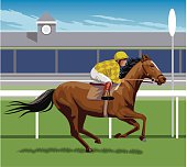 A vector image of a jockey in a horse race