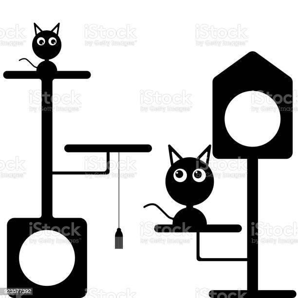 Vector image of a kitten and a cat near the cat houses flat black and vector id923577392?b=1&k=6&m=923577392&s=612x612&h=nj8nnk3ihh2bn6gytf9bmxhnzypdxlejvelgclswgve=