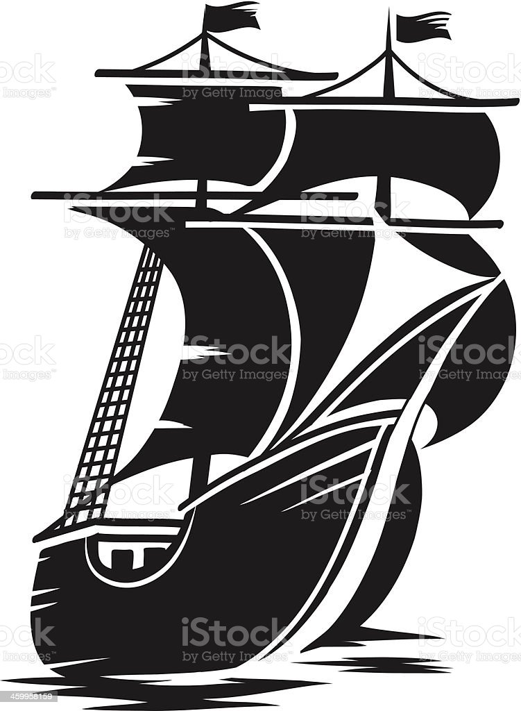A vector image of a large ship vector art illustration