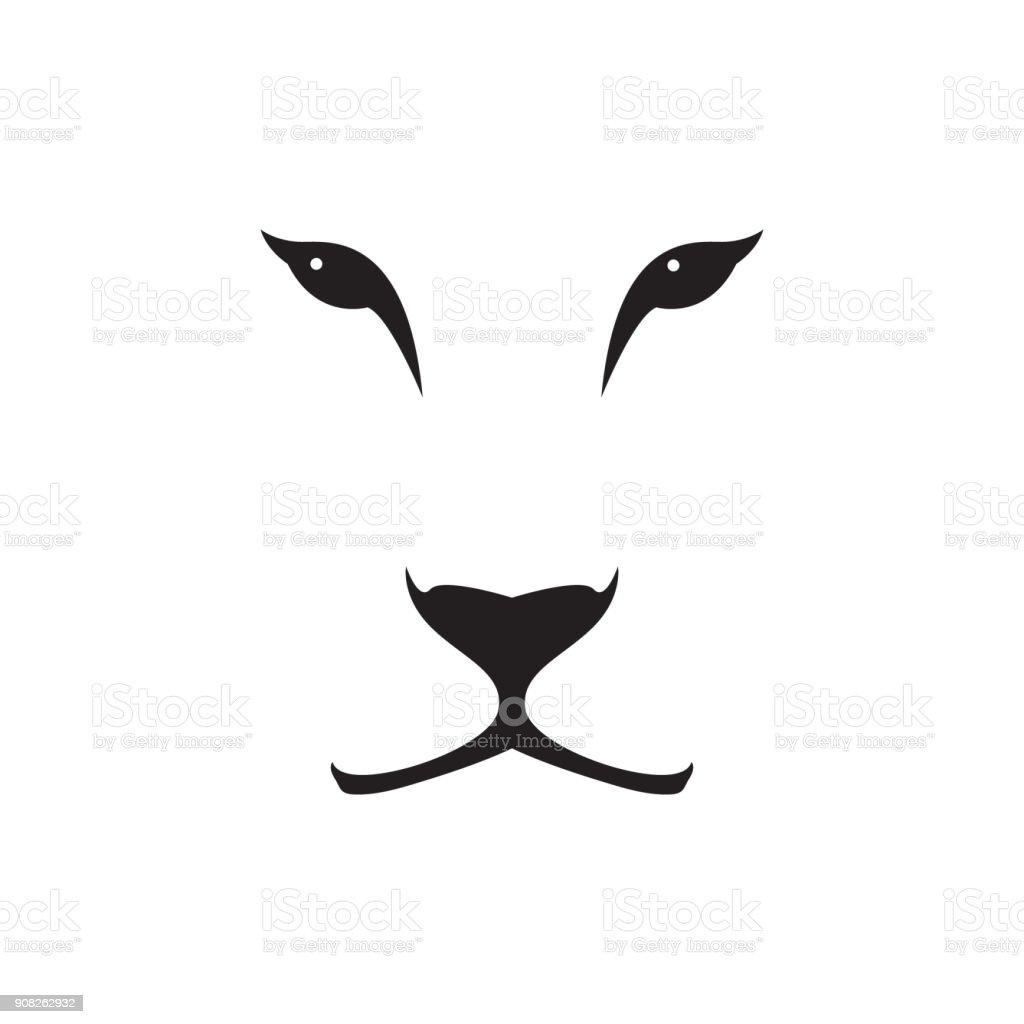 Vektor-Bild von einer Löwin Kopf auf weißem Hintergrund. Wilde Katze. – Vektorgrafik