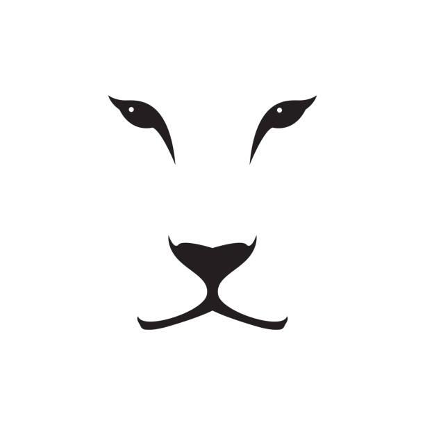 vektor-bild von einer löwin kopf auf weißem hintergrund. wilde katze. - tierkopf stock-grafiken, -clipart, -cartoons und -symbole