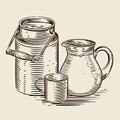 Vector image of a milk canister, a jug for milk and a cup. Monochrome depiction in the style of engraving