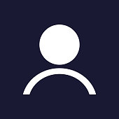 Vector image of a person icon. People icon. Vector white icon on dark blue background.