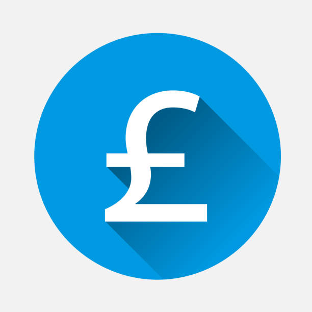 vector image of a pound sign on blue background. flat image pound icon with long shadow. layers grouped for easy editing illustration. for your design. - символ фунта stock illustrations
