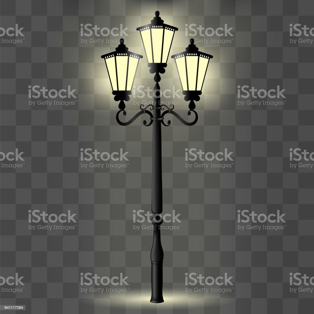 Vektor Bild Einer Realistischen, Dekorative Säule Mit Einem Licht Für  Beleuchtung Lizenzfreies Vektorbild Einer