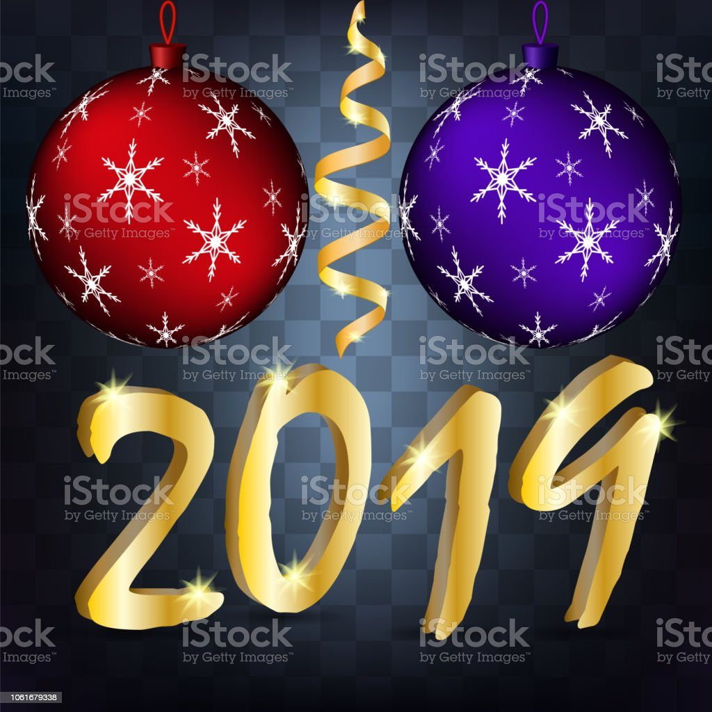 vector image of a realistic new year background with golden serpentine christmas balls and 2019