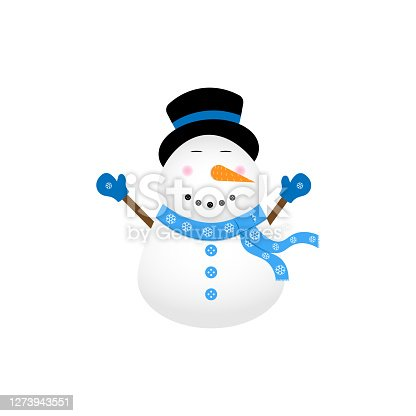 vector image of a realistic snowman who loves blue