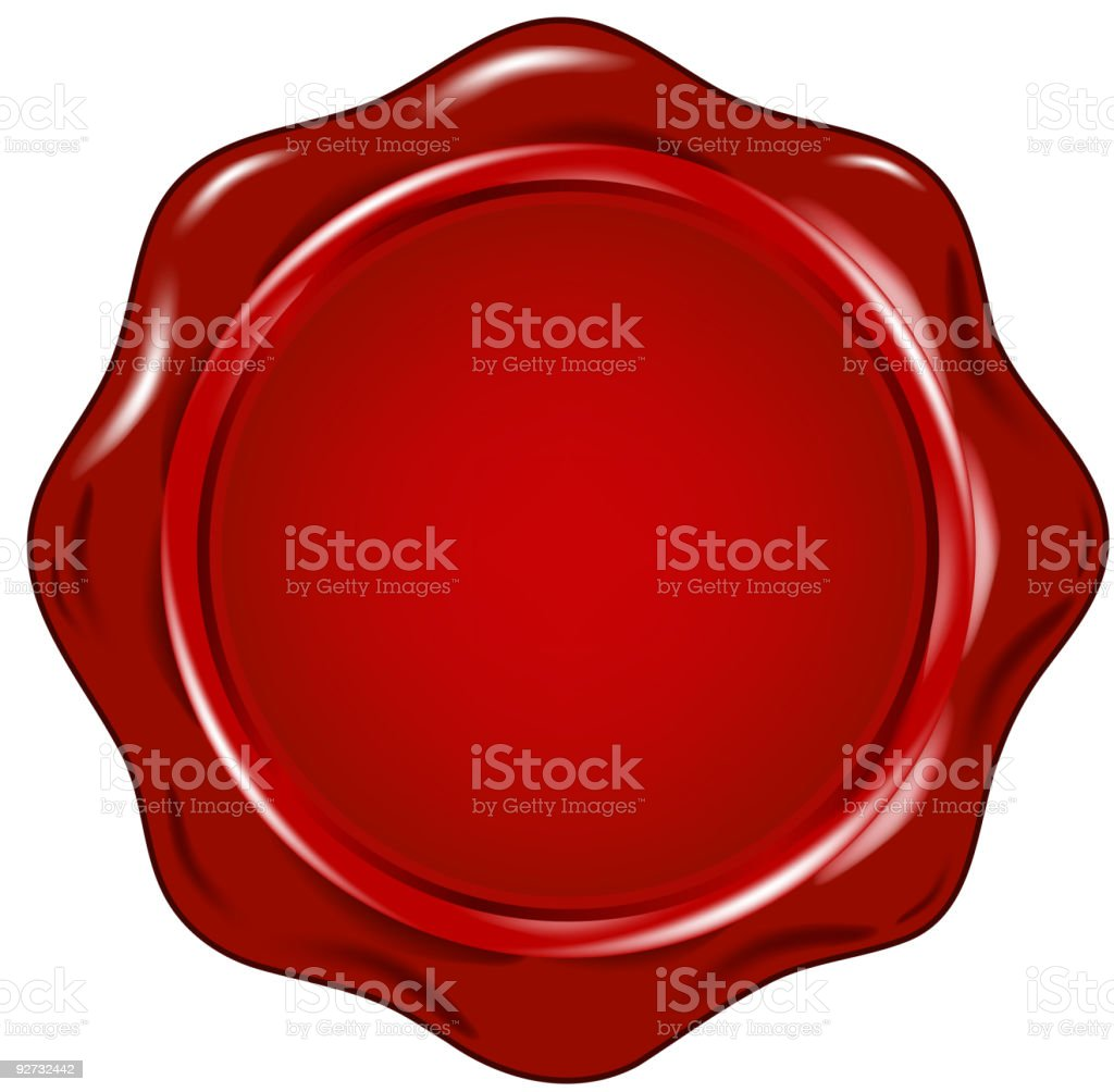 Vector image of a red wax seal vector art illustration
