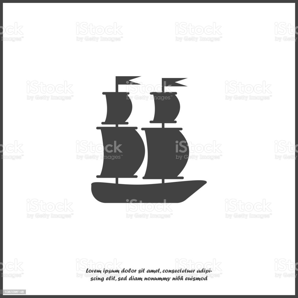 Vector image of a sea ship. Ship, Sailboat Icon on white isolated background.  Layers grouped for easy editing illustration. For your design. vector art illustration