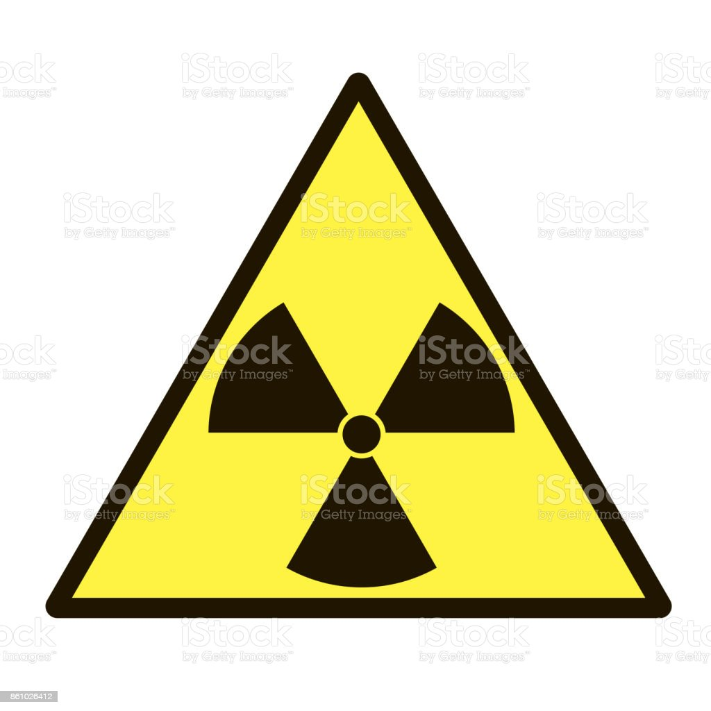 Vector image of a sign that warns about radiation hazard on white background vector art illustration