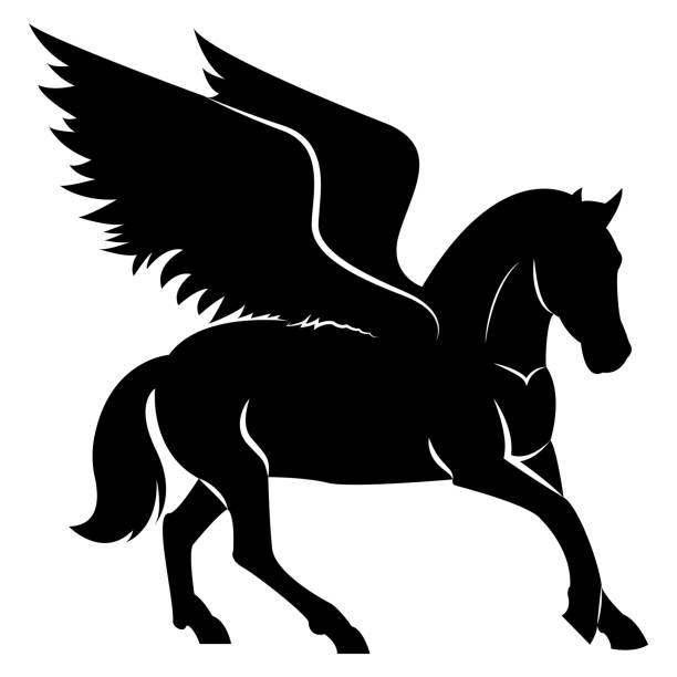 vector image of a silhouette of a mythical creature of pegasus on a white background. horse with wings on hind legs. - pegasus stock illustrations
