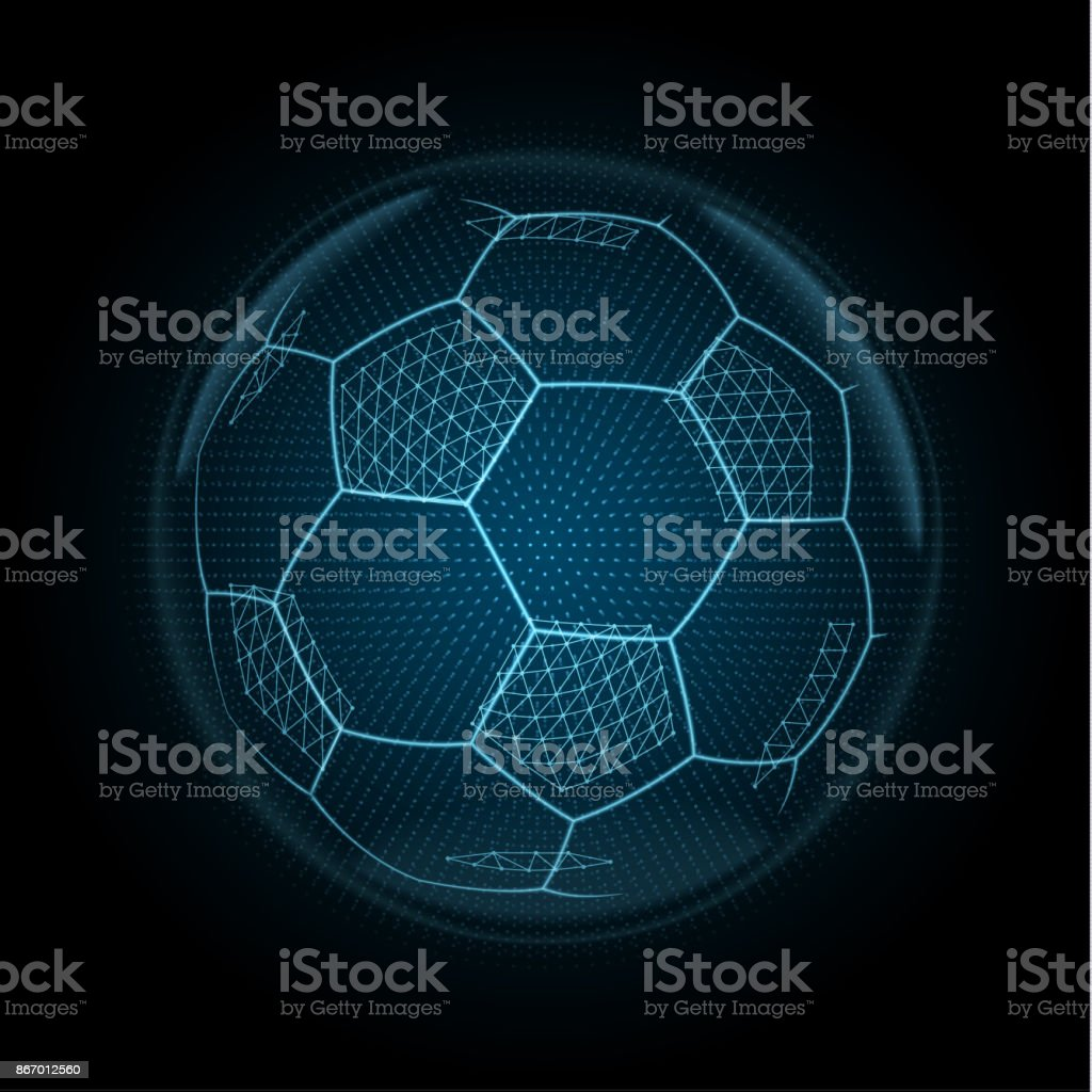 Image vectorielle d'un ballon de football fait des polygones, des points et des lignes rougeoyants - Illustration vectorielle