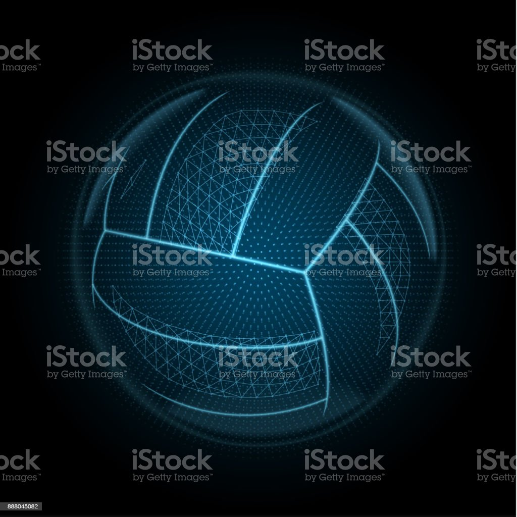 Vektor-Bild eines Volleyball-Ball gemacht für leuchtende Linien, Punkte und Polygone – Vektorgrafik