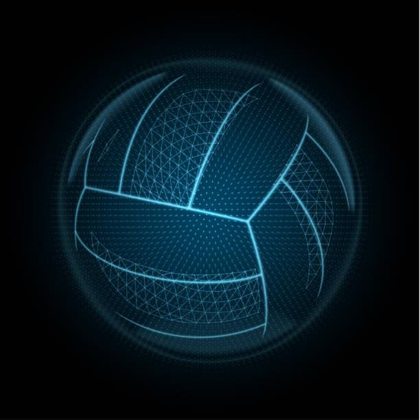 ilustrações, clipart, desenhos animados e ícones de imagem vetorial de uma bola de vôlei é composta por polígonos, pontos e linhas brilhantes - voleibol