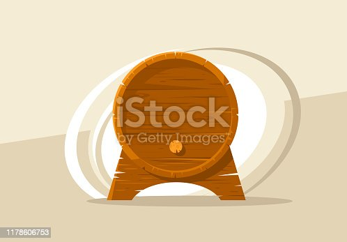 vector image of a wine barrel, front view