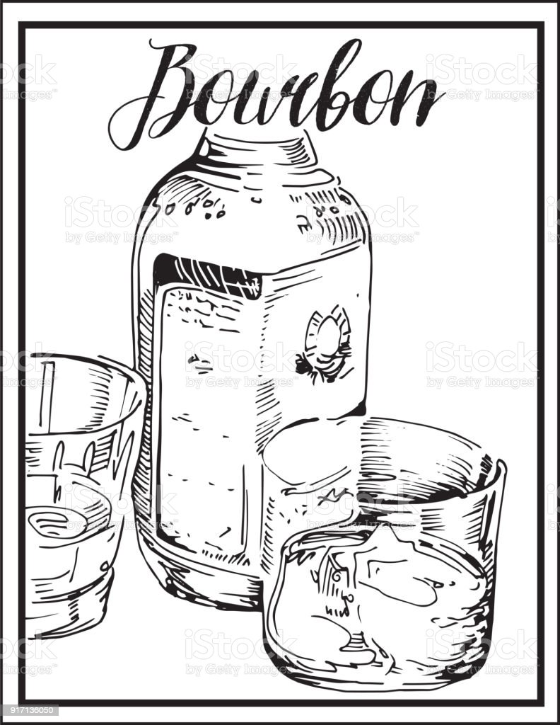 Vector image of alcoholic drink, glass and bottle. Bourbon whiskey, whisky. vector art illustration