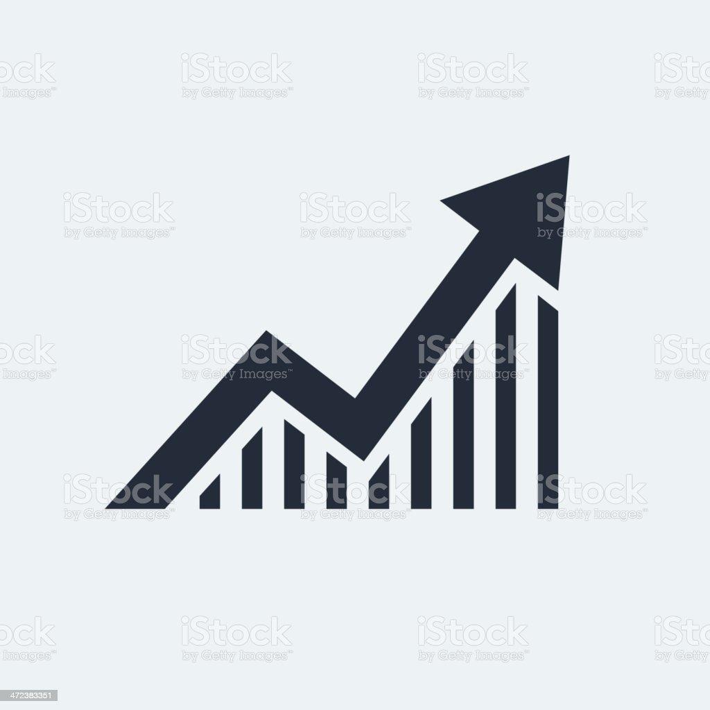 A vector image of an arrow on a graph vector art illustration