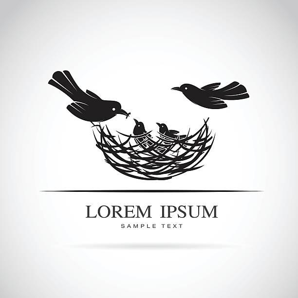 bildbanksillustrationer, clip art samt tecknat material och ikoner med vector image of an birds family in love - bo