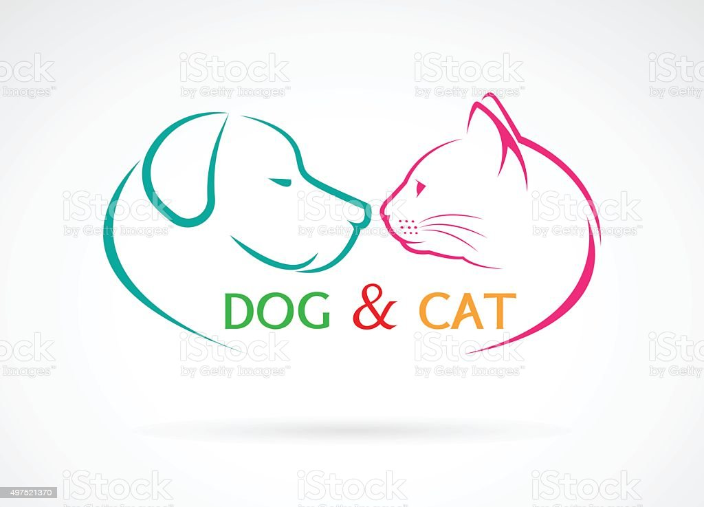 Vector image of an dog and cat vector art illustration