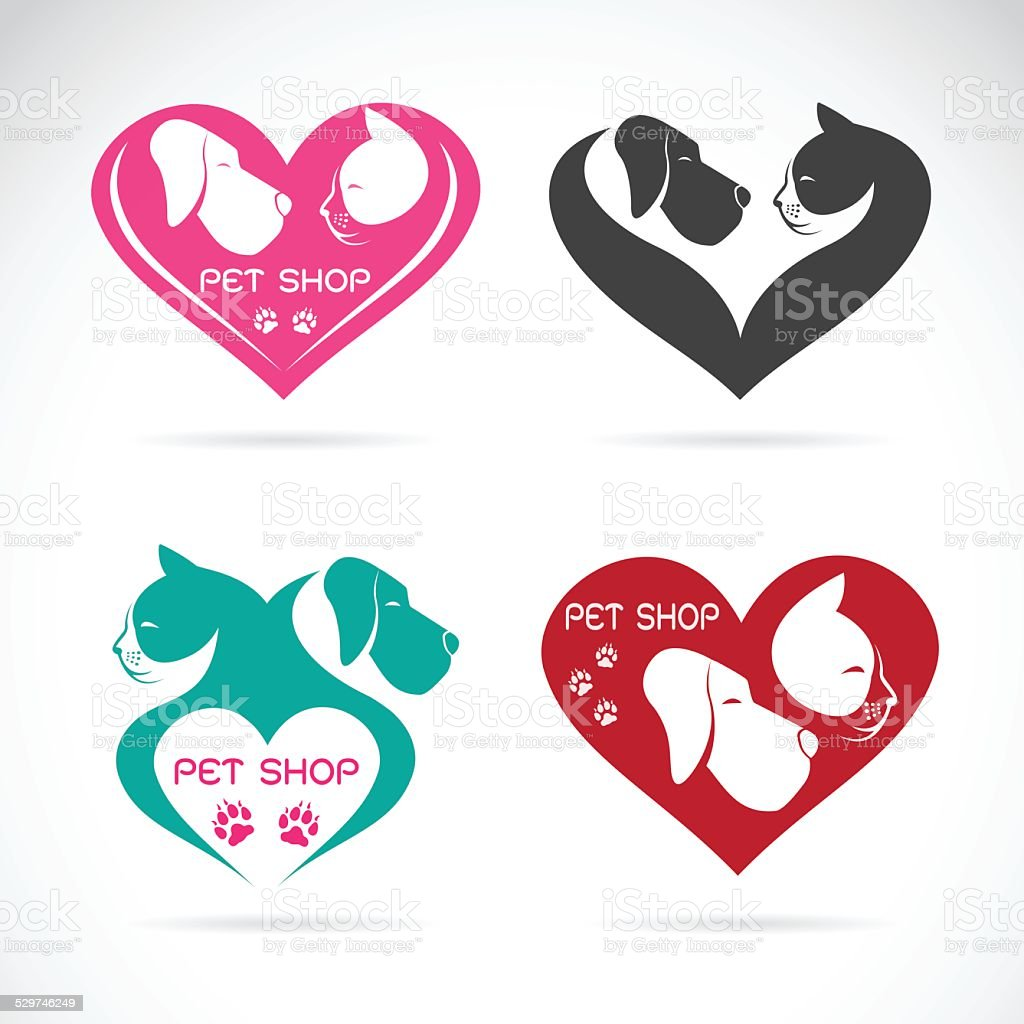 Vector image of an Dog and cat with heart vector art illustration